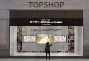 Topshop's social curation interactive window for LFW SS15