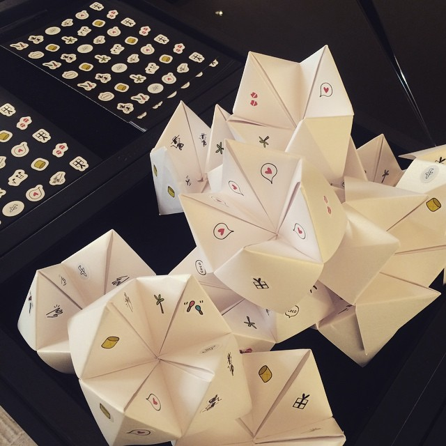 Chanel stickers on fortune telling chatterboxes for @chanel launch Crush…